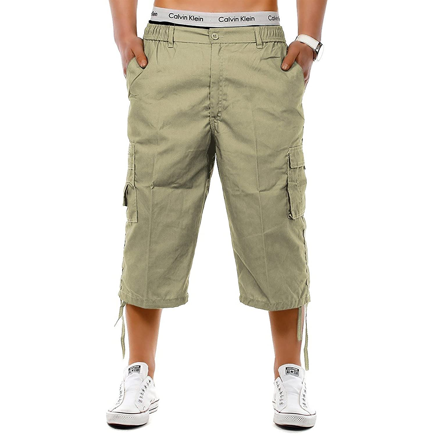 b9d09c09a99df onpointlook Mens Big Size Shorts 3 4 Combat Cargo Casual Pants Elasticated  Waist Pockets Plus Size M XL 2XL 3XL 4XL 5XL 6XL  Amazon.co.uk  Clothing