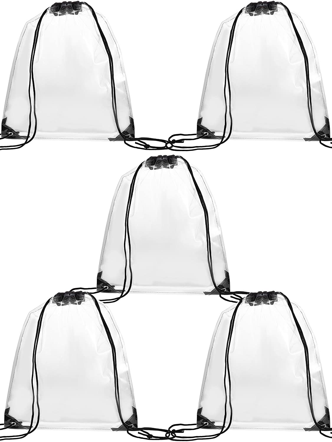 Gejoy 5 Pack Transparent Drawstring Bag Clear Cinch Bags Traveling Sport Bags (Black Edge)