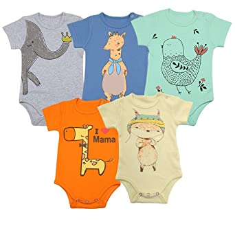 Florno Unisex Baby Bodysuits, Baby Short Sleeve Bodysuits Onesies Bodysuit%100 Organic Cotton Short Sleeve Bodysuits 5 Pack by Florno