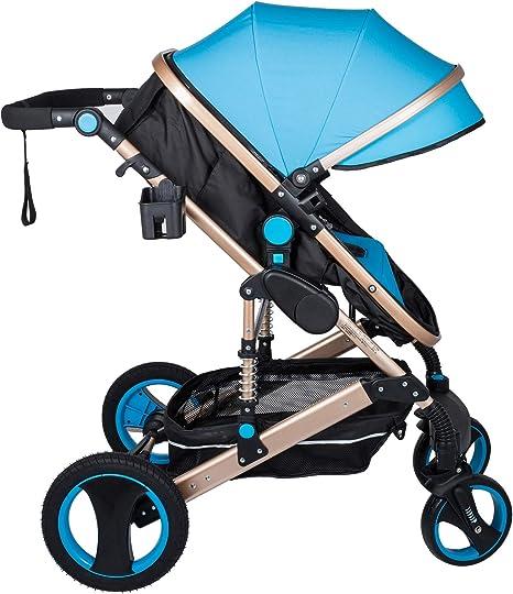 Opinión sobre Husuper 2 en 1 Cochecito de de Alta Calidad Plegable Portátil Ligero Amortiguador Ajustable para Bebés Recién Nacidos Carrito con Capazo Cuna para Bebé Azul