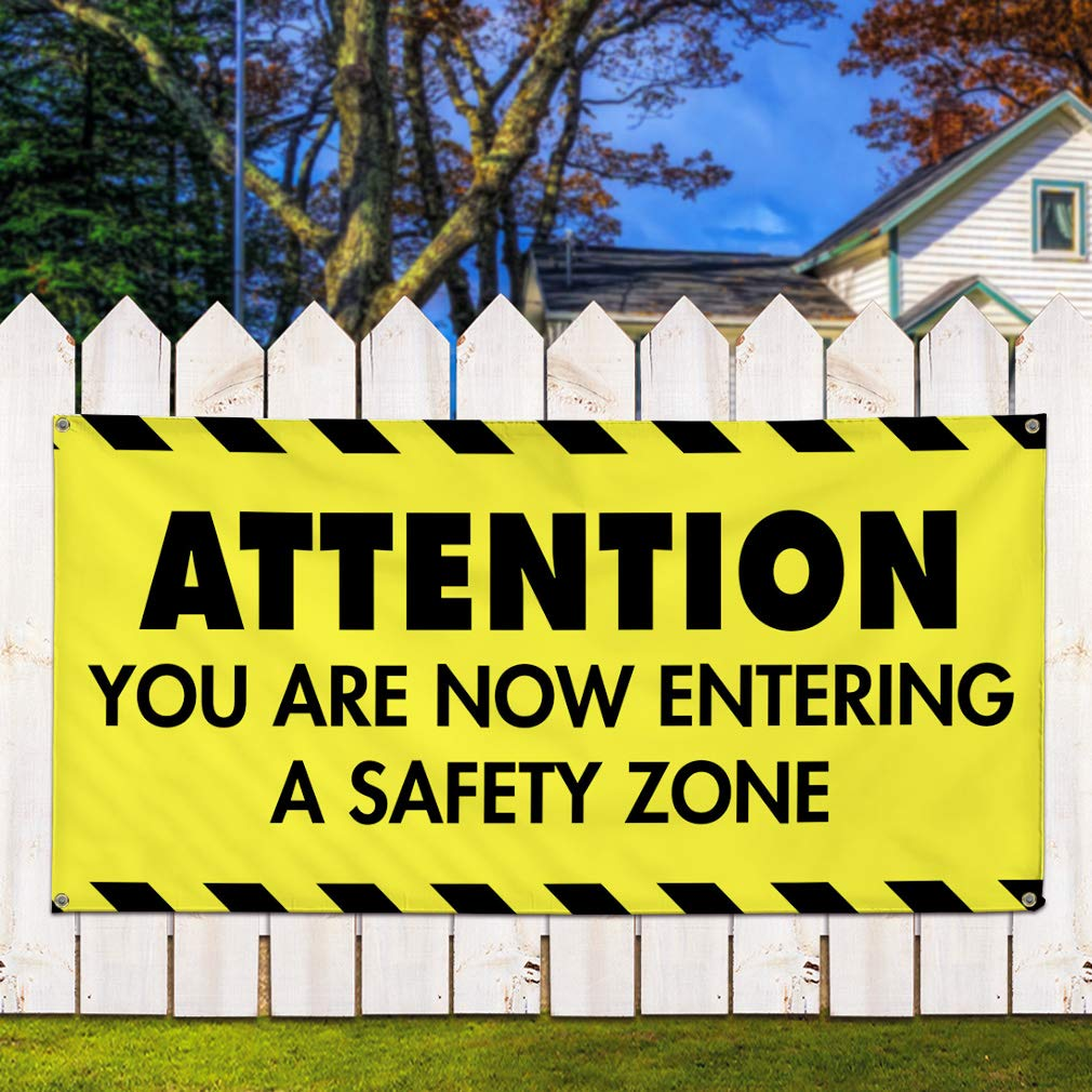 Multiple Sizes Available 8 Grommets 48inx96in Now Entering A Safety Zone Marketing Advertising Yellow One Banner Vinyl Banner Sign Attention