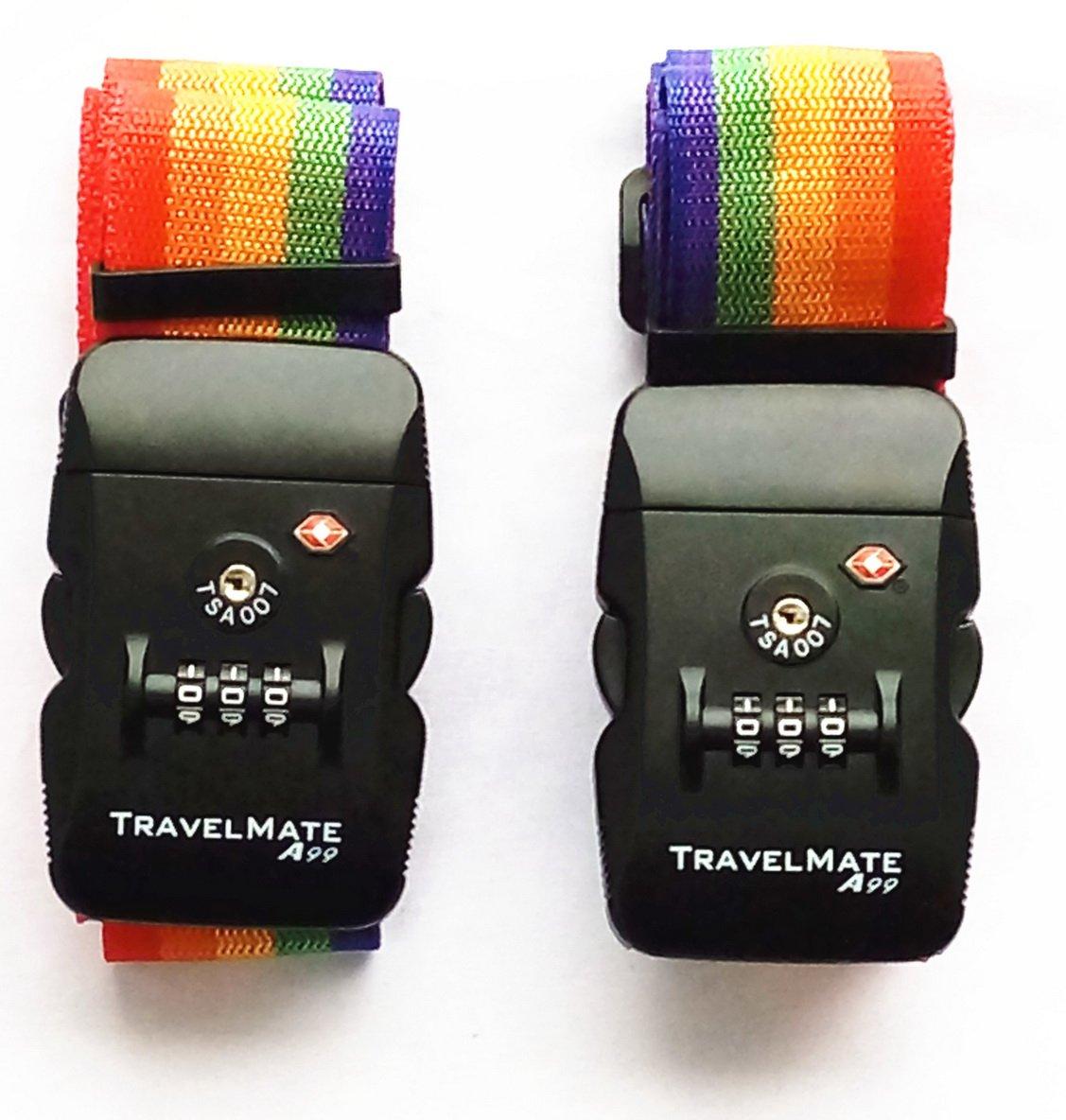 2pcs A99 TSA Travel Mate Strap Luggage Digital Dial Combination Safe Suitcase Lock Strap (Black) A99 Mall