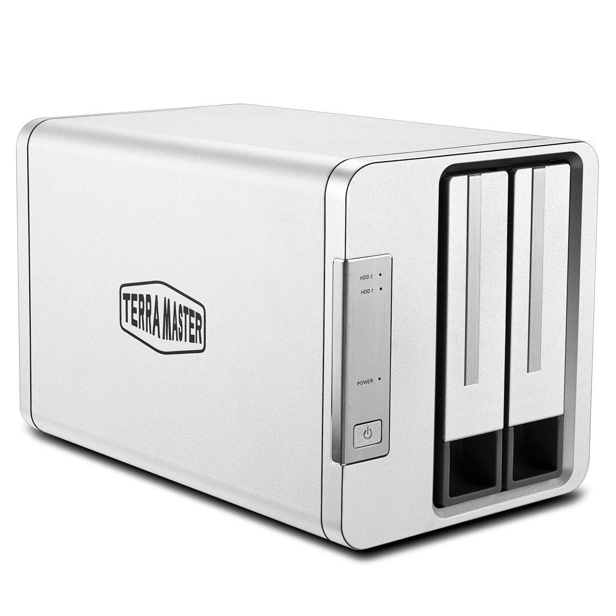 TerraMaster D2-310 Hard Disk Esterno Rete RAID Disco Rigido Alloggiamento HDD/SSD Custodia di Disco Rigido Esterno USB3.1(10Gbps) Tipo C SUPERSPEED+ RAID Storage (16TB) Supporto JBOD/RAID 0/RAID 1/Single Box per SATA Hard Disk(Diskless)