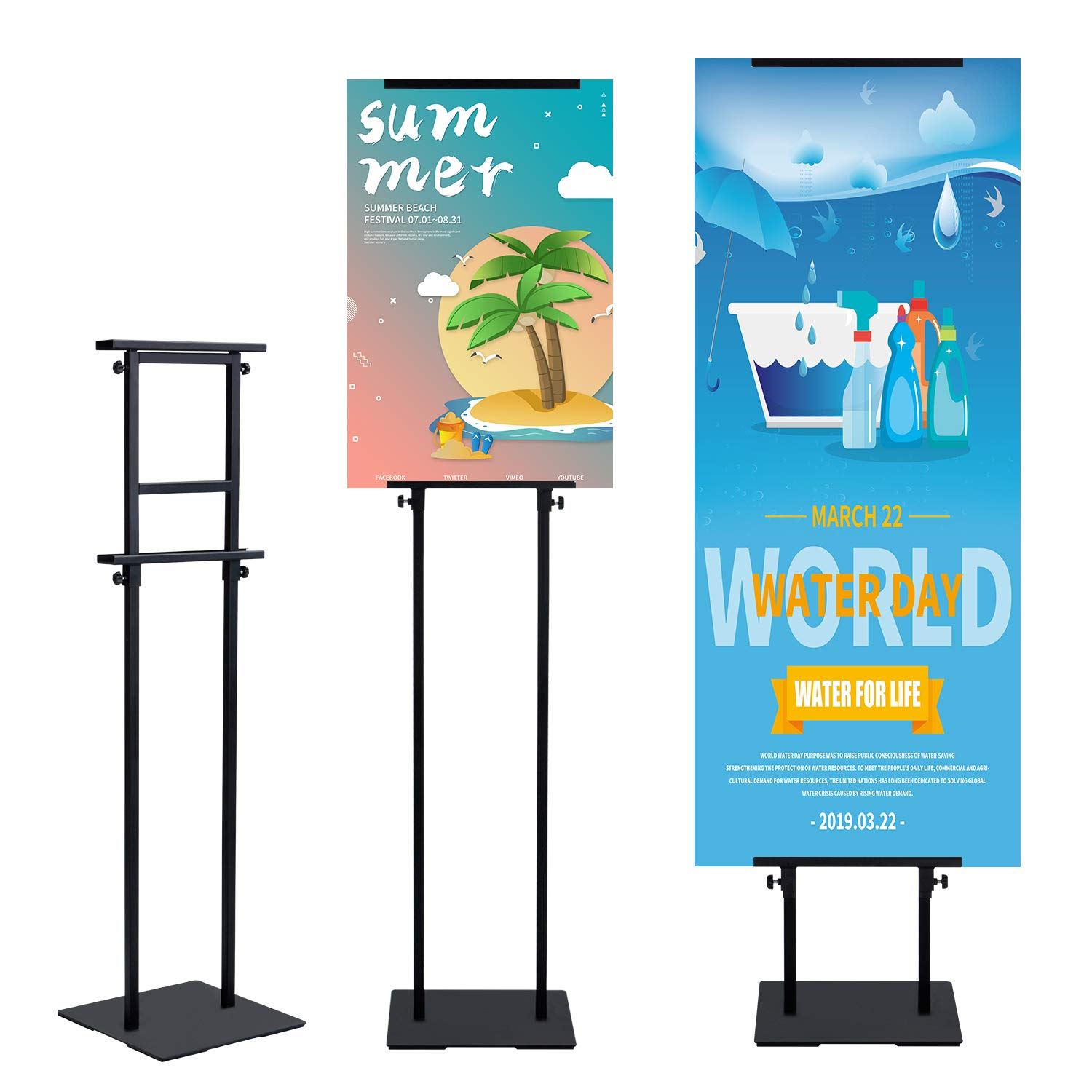 T-SIGN Heavy Duty Banner Stand with Non-Slip Mat Base, Adjustable Pedestal Poster Stand Up to 78 inch, Double Side Banner Holder for Multiple Display by T-SIGN