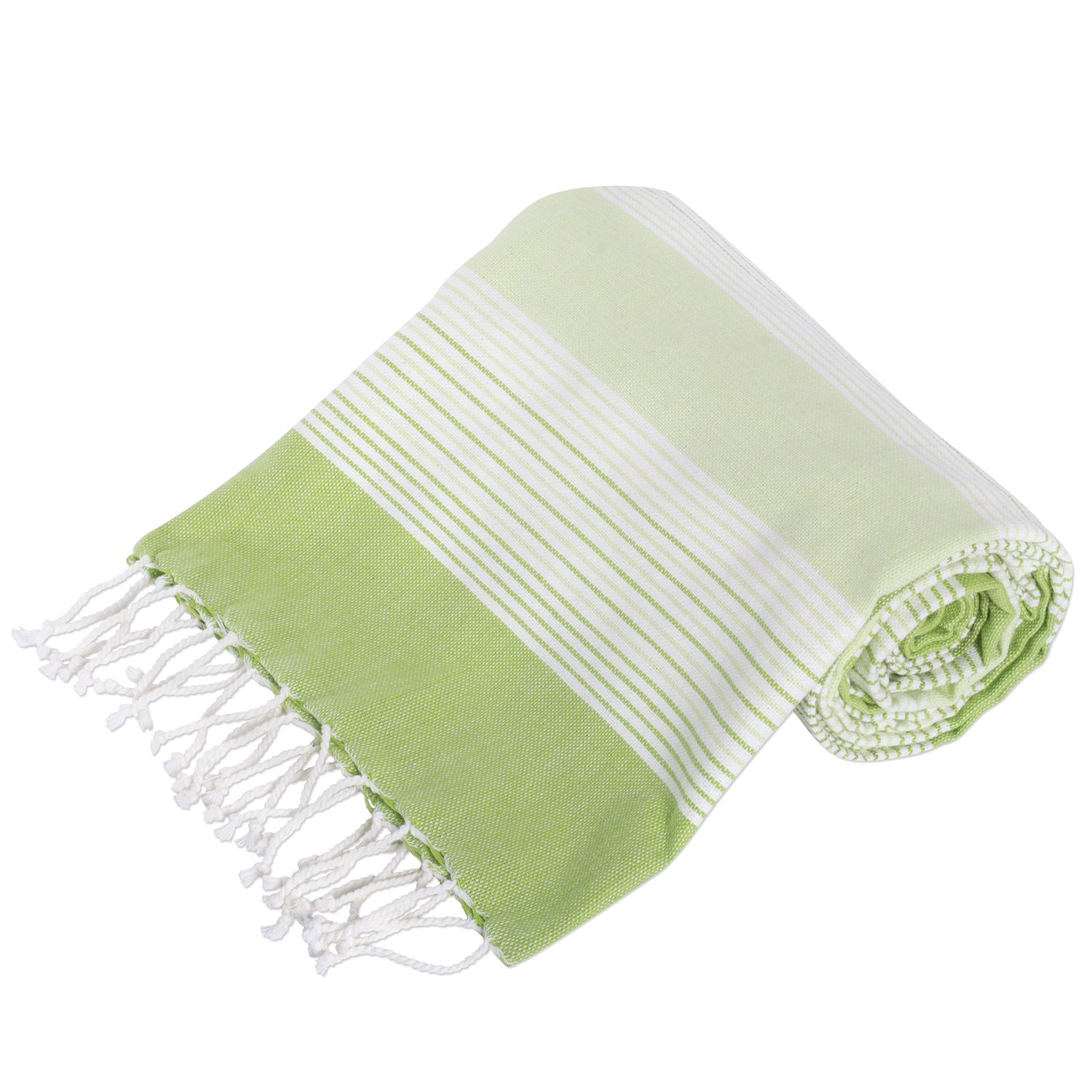 DII Peshtemal Turkish Super Soft, Absorbent, Oversized Bath Towel, Throw, Blanket Fringe for Chair, Couch, Picnic, Camping, Beach, Yoga, Pilates, Everyday Use, 39 x 78 - Green Stripe by DII