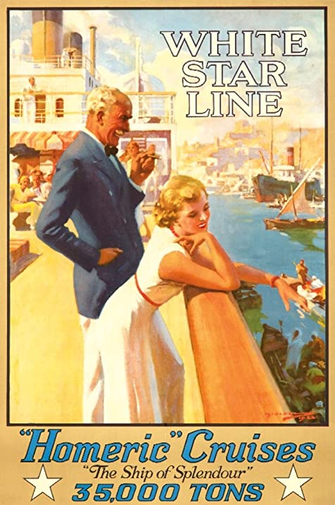 Amazoncom White Star Line Homeric Cruises Vintage Poster - Homeric cruise ship