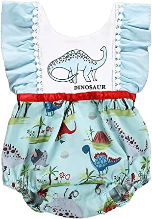 EGELEXY Toddler Baby Girls Cute Cartoon Dinosaur Print Sleeveless Rompers Ruffle Jumpsuit