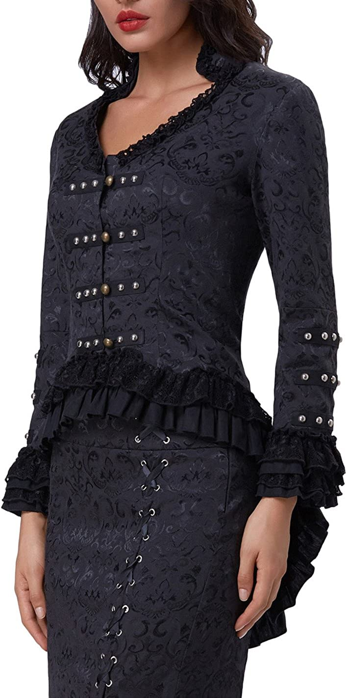 Belle Poque Womens Steampunk Victorian Tail Jacket Coat with Back Lacing