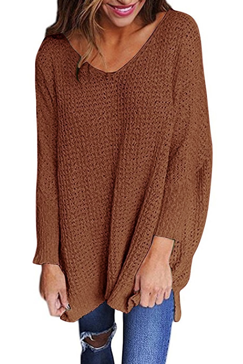 Chellysun Women V Neck Sweaters Knit Ribbed Long Sleeve Loose Fitting Pullover