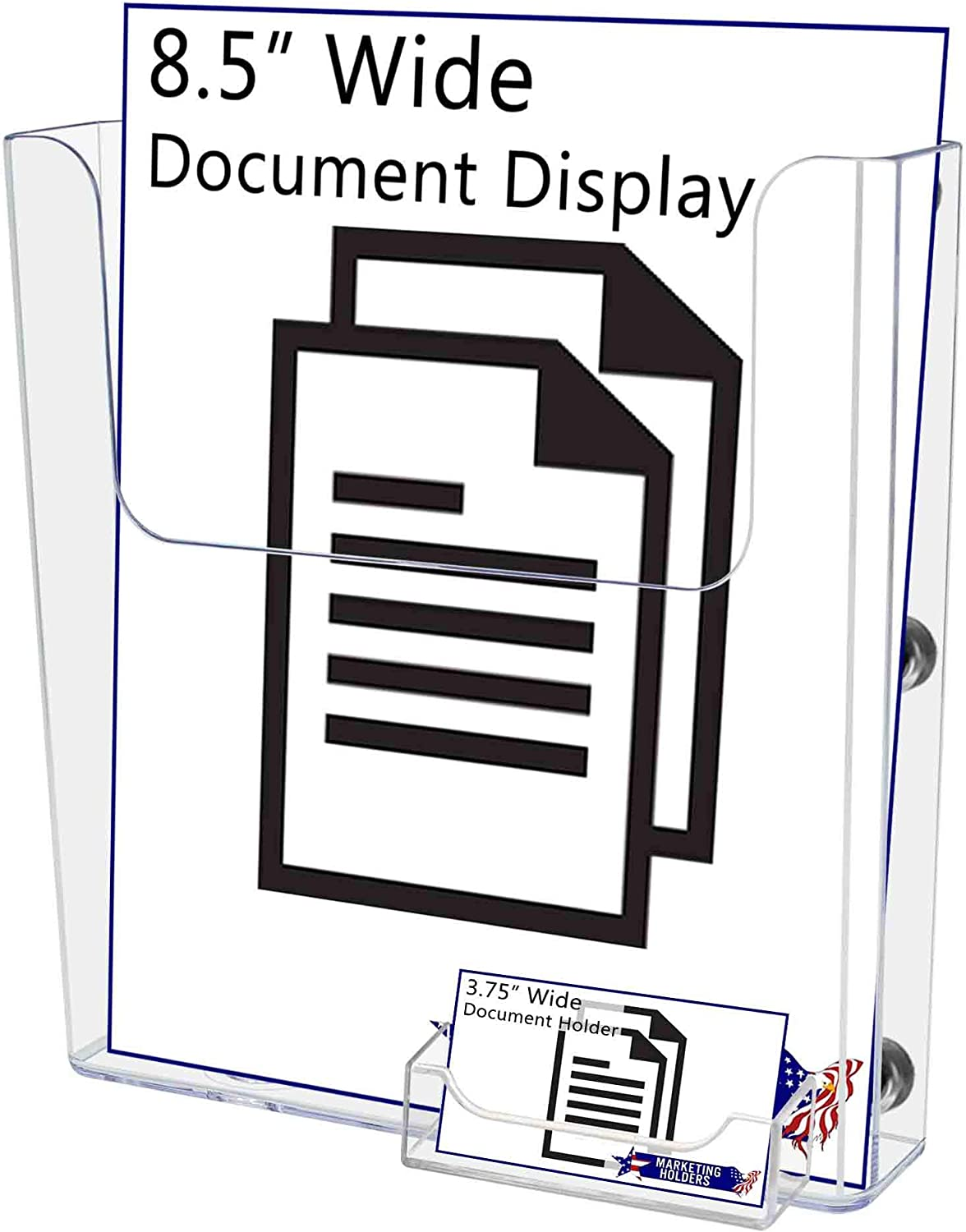 Marketing Holders 8.5W Magazine Holder Pamphlet Display with Attached Business Card Pocket Catalog Value Pack of 12 Document Booklet Literature Printed Material Metal Surfaces Brochure Magnetic