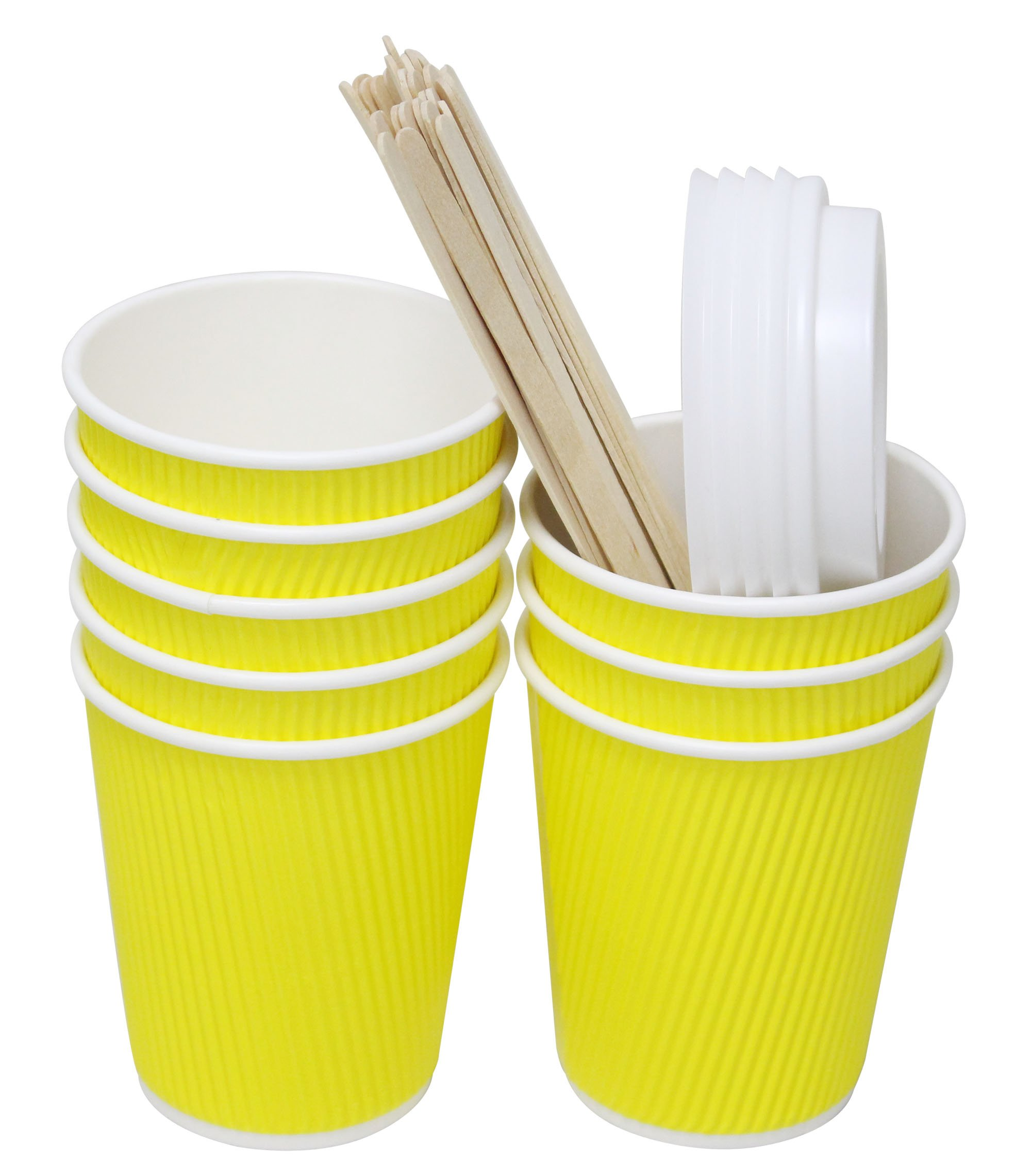 QuaCity 8 Oz Insulated Disposable Ripple Coffee Cups with White Lids, Wood Stirrers 50 Count - Perfect for Hot and Cold Beverages - No Soaking or Smells - Take To Go (Yellow)
