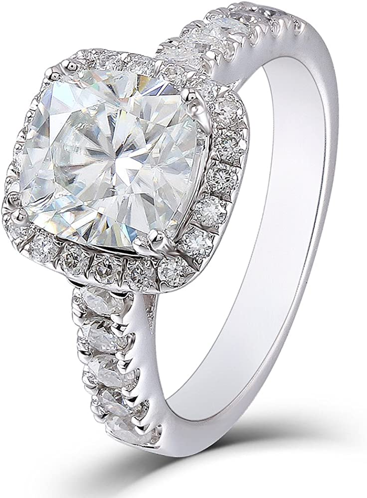 DovEggs 2ct Center 7.5mm Cushion Cut 2.3mm Width G-H-I Color Created Moissanite Engagement Ring Solitare with Accents Sterling Silver