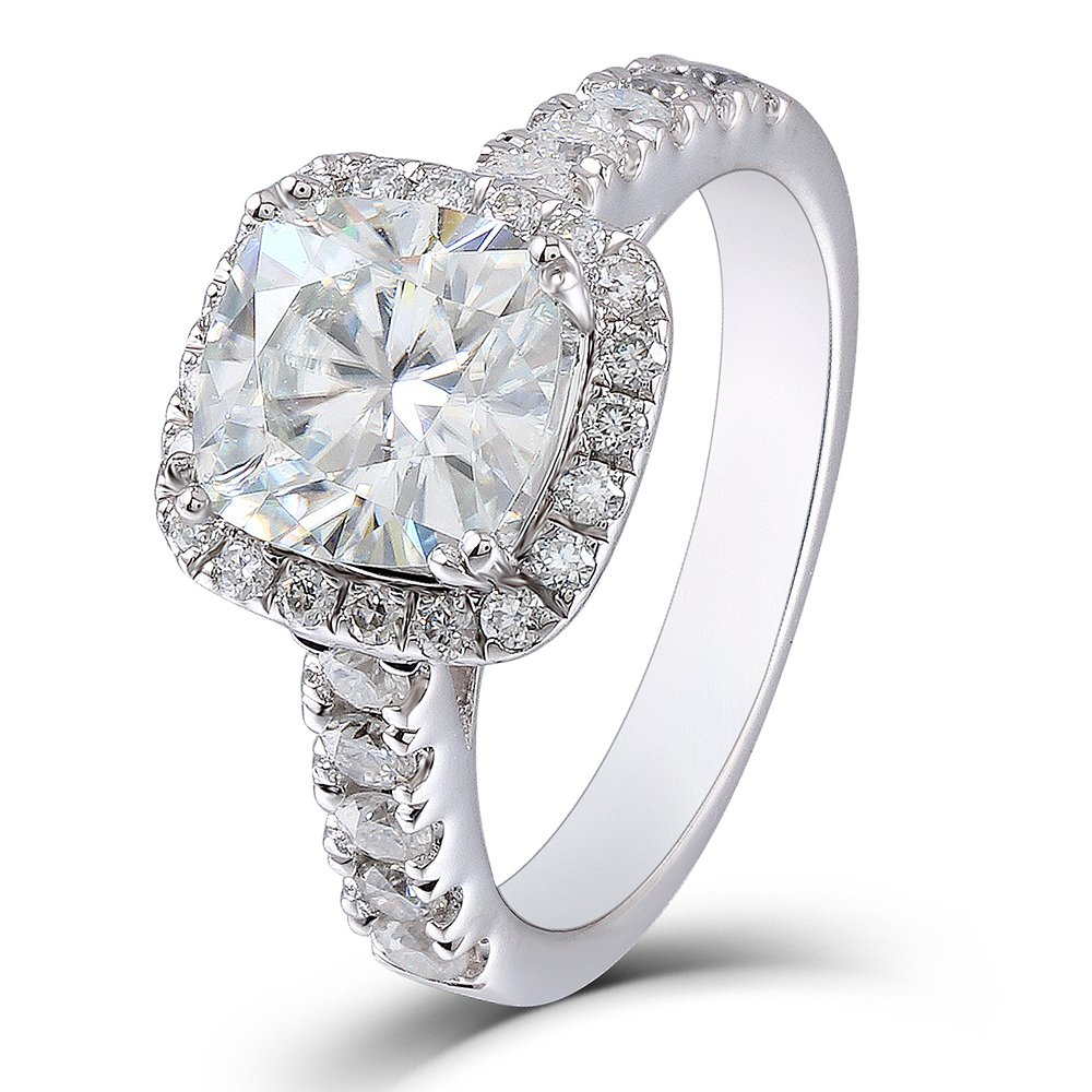 DovEggs 2ct Center 7.5mm Cushion Cut 2.3mm Width H Color Moissanite Engagement Ring Solitare with Accents Platinum Plated Silver (7)