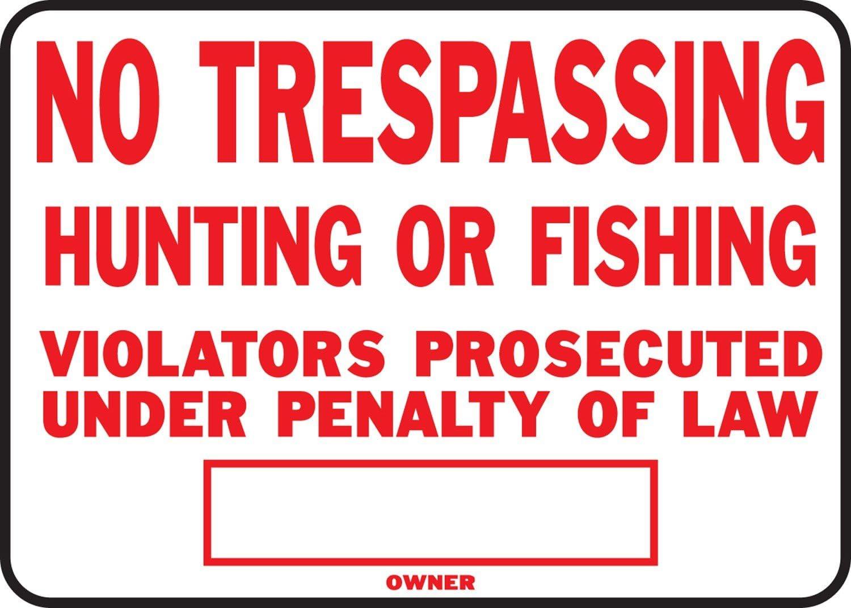 "Hy-Ko SS-5 10/"" x 14/"" Aluminum No Trespassing Sign"