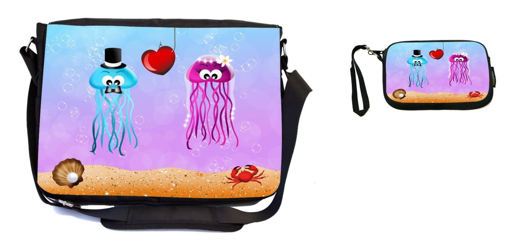 Rikki Knight Jellyfishes in Love Wedding Illustration Design Messenger Bag - School Bag - Laptop Bag - with Padded Insert - Includes UKBK Premium Coin Purse