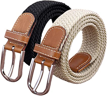 Set of 2 Womens Belt Casual Braided Elastic Fabric Woven Stretch Elasticated Belts