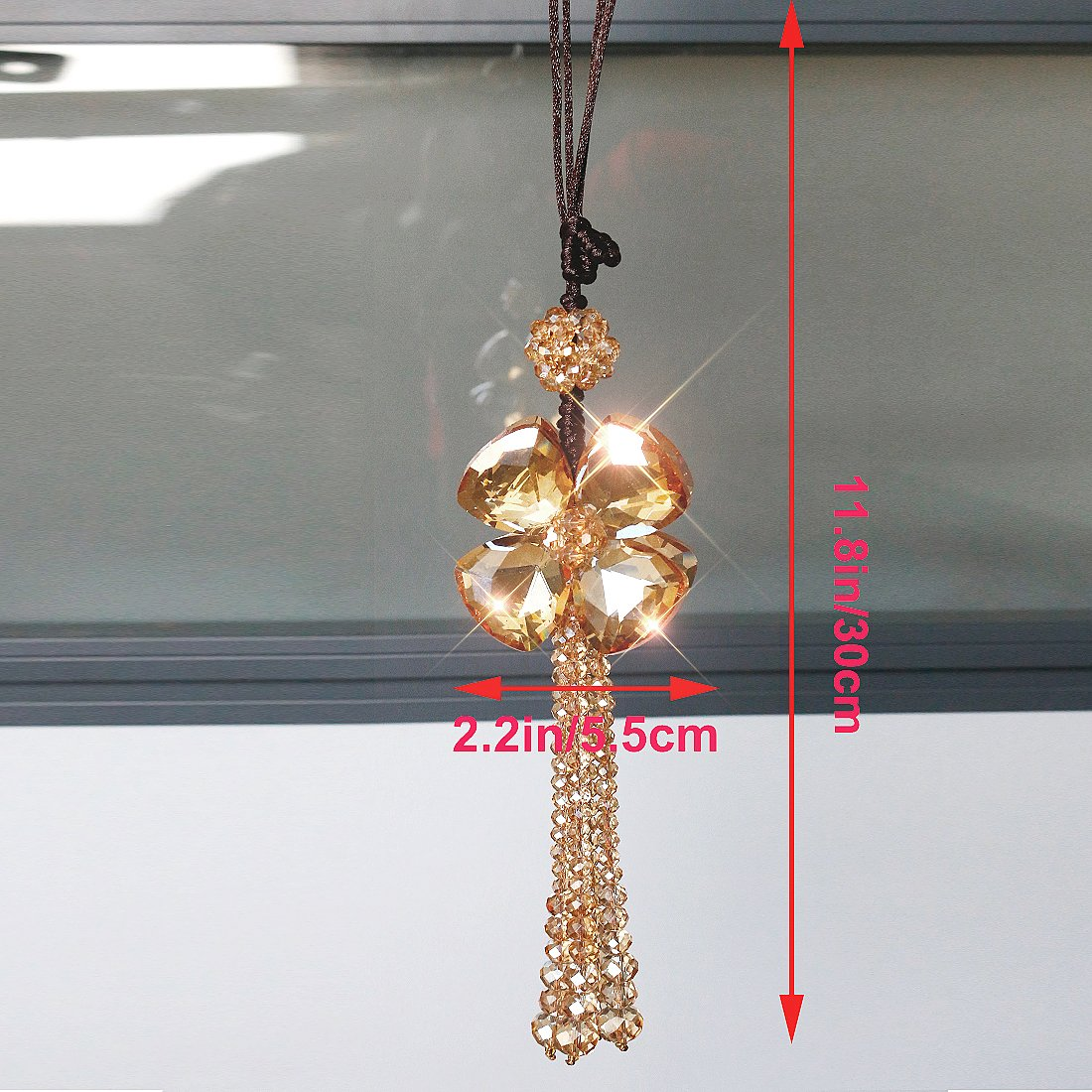 H&D Crystal Car Charms Hanging Ball Prisms Clover Ornament Car Rear View Mirror Pendant Champagne by H&D (Image #2)