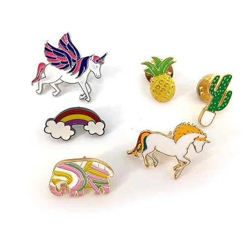 Delightful MeliMe Funny Enamel Brooch Pin Set Cute Cartoon Brooches Lapel Pins Badge  For Kids Children Jean