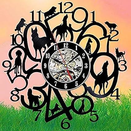 BiuTeFang Reloj de Vinilo Decoración Creativo Digital y Perro Reloj de Vinilo de Diseño con el