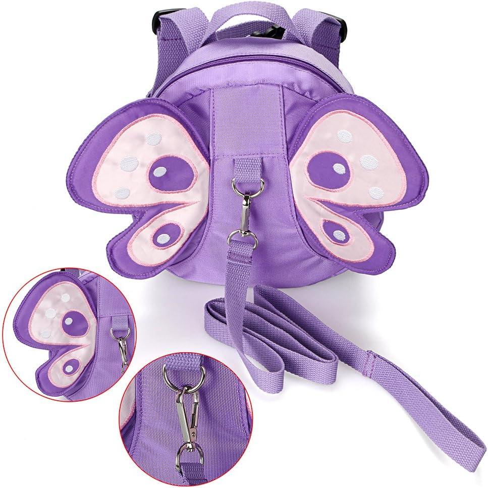 Mochila con dise/ño de alas de mariposa para ni/ños de BTSKY con arn/és de seguridad morado morado