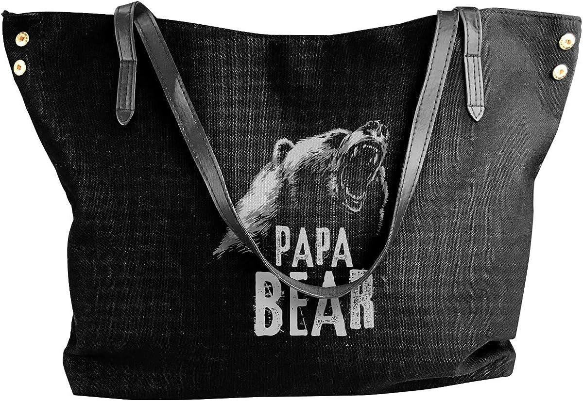Papa Bear7 Canvas Shoulder Bag Tote Bag For Womens Black