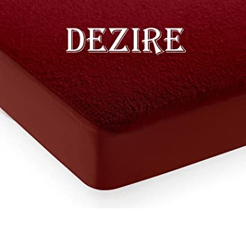 Dezire Terrycloth Elastic Fitted Waterproof Mattress Protector Bed Cover (Maroon, Queen, 72X 60-inch 6 By 5)