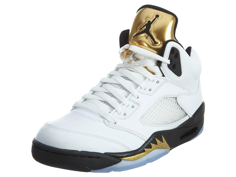 4d2883ba8294 Nike - Air Jordan 5 Retro Gold Tongue - 136027133 - Color   Black-Golden-White - Size  11.0  Amazon.co.uk  Shoes   Bags