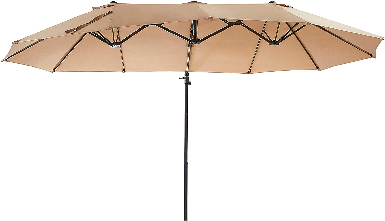 LOKATSE HOME Twin Head Outdoor Large Patio Rectangular Umbrella with Crank for Market, Garden or Pool, Khaki