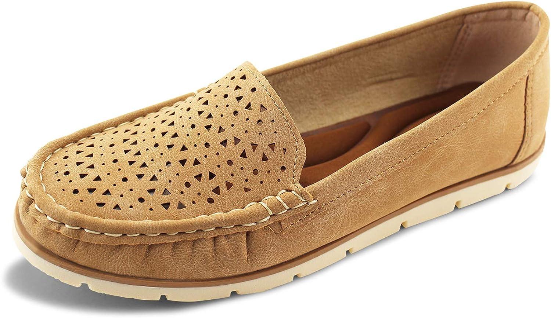 Jabasic Womens Penny Loafers Breathable Slip on Flat Shoes Moccasins
