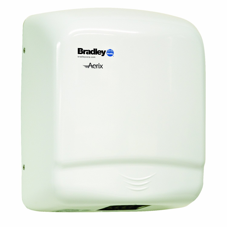 Bradley 2905-287300 White Steel Sensor Operated Standard Warm Air Hand Dryer, 10-1/16'' Width x 11-7/8'' Height x 5-1/2'' Depth