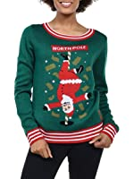 Tipsy Elves Women's North Pole Dancer Sweater - Santa Stripper Ugly Christmas Sweater
