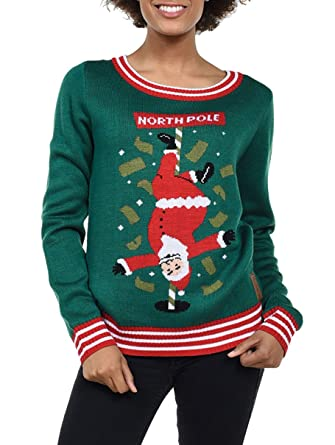 Tipsy Elves Women\u0027s North Pole Dancer Sweater , Santa Stripper Ugly  Christmas Sweater Small