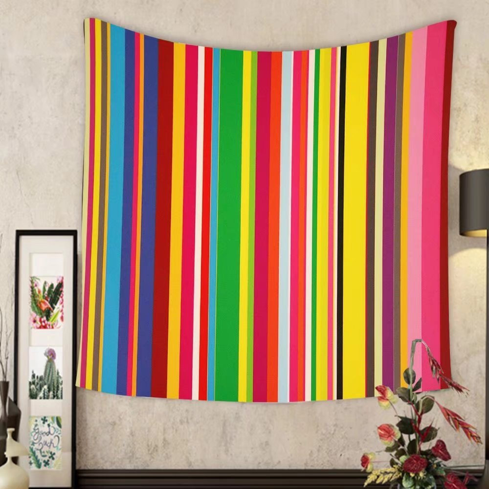 Madeleine Ellis Custom tapestry stripes of colors on a window pane