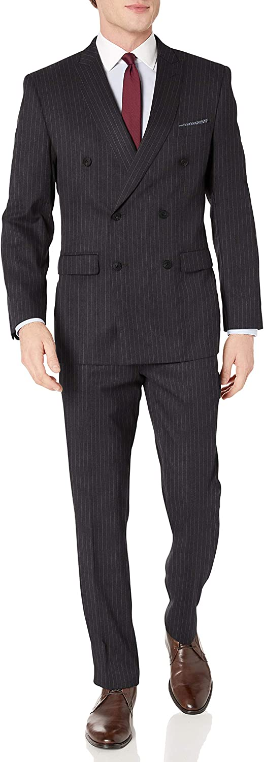 Perry Ellis Men's Two Piece Finished Bottom Slim Fit Suit