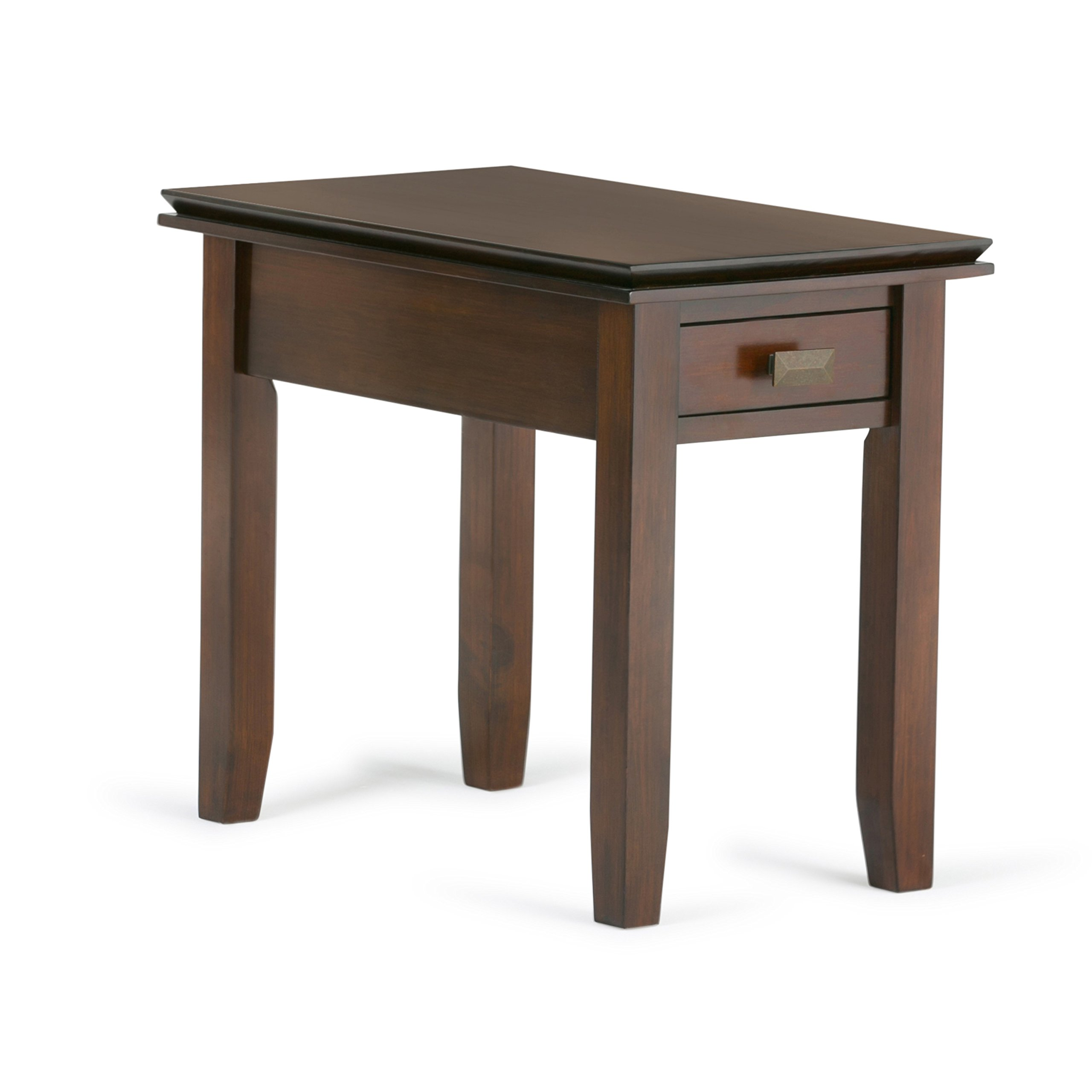 Simpli Home Artisan Solid Wood Narrow Side Table, Medium Auburn Brown