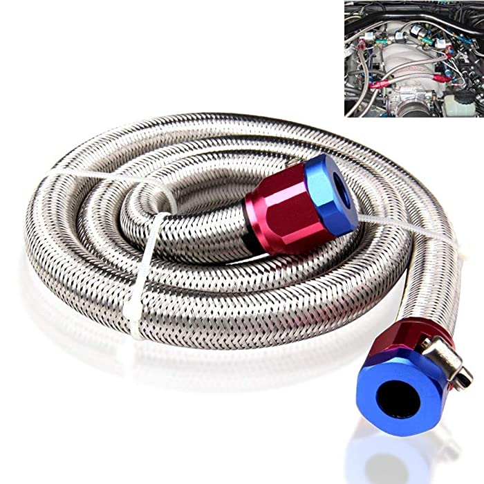 """Bang4buck #304 Grade Stainless Steel Braid Fuel Line, 3' X 3/8"""" Clamp-in Sleeving Kit , Cuttable, No Leaking (HSK1008-1526)"""