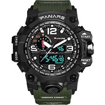 Analog - Digital Reloj de hombre estudiantes Reloj Deportivo reloj digital LED multifunción reloj con alarma cronómetro Negro Caucho Pulsera: Amazon.es: ...