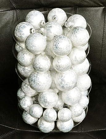 Christbaumkugeln Weiß Eislack.Jack By Inge Glas 60x Glas Christbaumkugeln 4 5 6 7 Cm Eislack Weiß Offwhite Haken