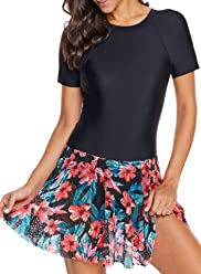 78899ad13dc9b ROSKIKI Womens One Piece Tummy Control Swimdress Floral Skirt Swimsuits  Slimming Swimwear Bathing Suit Dress with