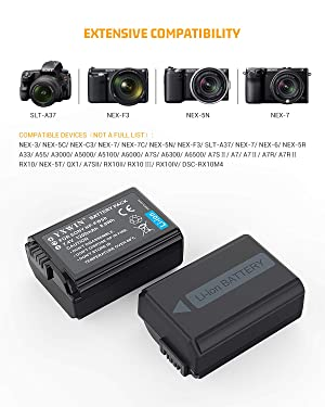 NP-FW50 YXWIN Camera Battery Charger Set and Battery for Sony A6000, A6500, A6300, A7, A7II, A7RII, A7SII, A7S, A7S2, A7R, A7R2, A55, A5100, RX10 Accessories (2-Pack, Micro USB&Type-C Ports, 1200mAh)