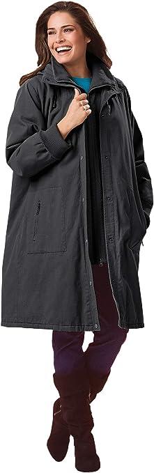 Woman Within Womens Plus Size Twill Hooded Stadium Jacket