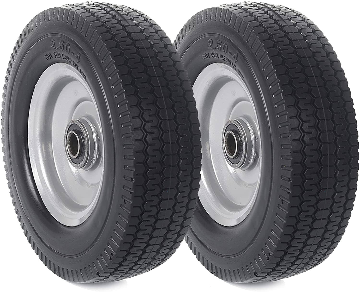 """(2-Pack) AR-PRO 2.50-4"""" Solid Rubber Tire and Wheel Assemblies - 8"""" Flat Free Tubeless Tires and Wheels for Utility Equipment - 5/8"""" Axle Bore Hole, 2 1/4"""" Offset Hub, and Double-Sealed Ball Bearings"""