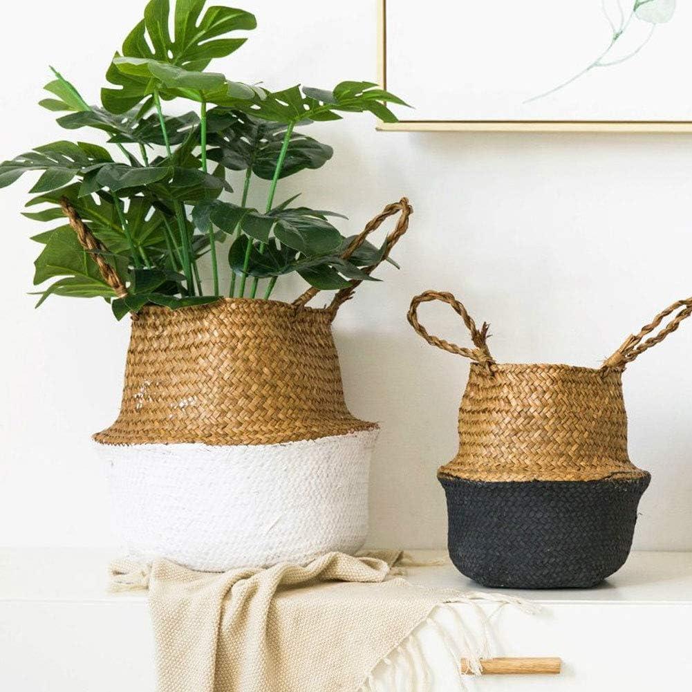 Momangel Handgefertigter Eimer zum Flechten faltbar Pflanzen Gartendekoration f/ür Spielzeug Blumentopf Kleidung