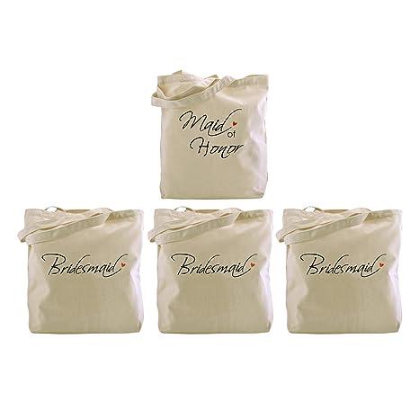 elegantpark 1pcs maid of honor 3pcs bridesmaid tote bags set for women wedding bridal shower