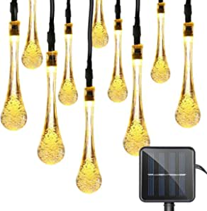 15ft 20 LeD Solar Festival Lights Outdoor Garden String Light Waterproof Tear Drop Style, for Garden, Patio, Yard, Camping, Festival Parties, Wedding (Warm White)