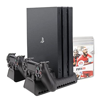 MEKUULA Vertical Stand for PS4 / PS4 Slim / PS4 Pro, Vertical Stand with 3  Cooling Fans and Dual Controller Charging Dock Non-Slip Feet Charging