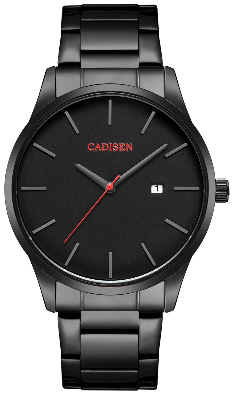 Watch VOEONS Mens Watches, Black Stainless Steel Watch Analog Quartz Wrist Watch for Men