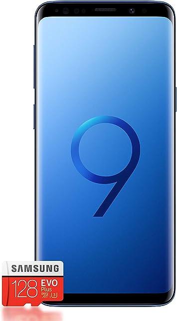 Samsung Galaxy S9 + Smartphone Bundle (6,2 pulgadas pantalla táctil, 64 GB de memoria interna, Android) – Coral Blue + Gratis Samsung Evo Plus 128 GB Tarjeta De Memoria [Exclusivo de Amazon] – Versión alemana: Amazon.es: Electrónica