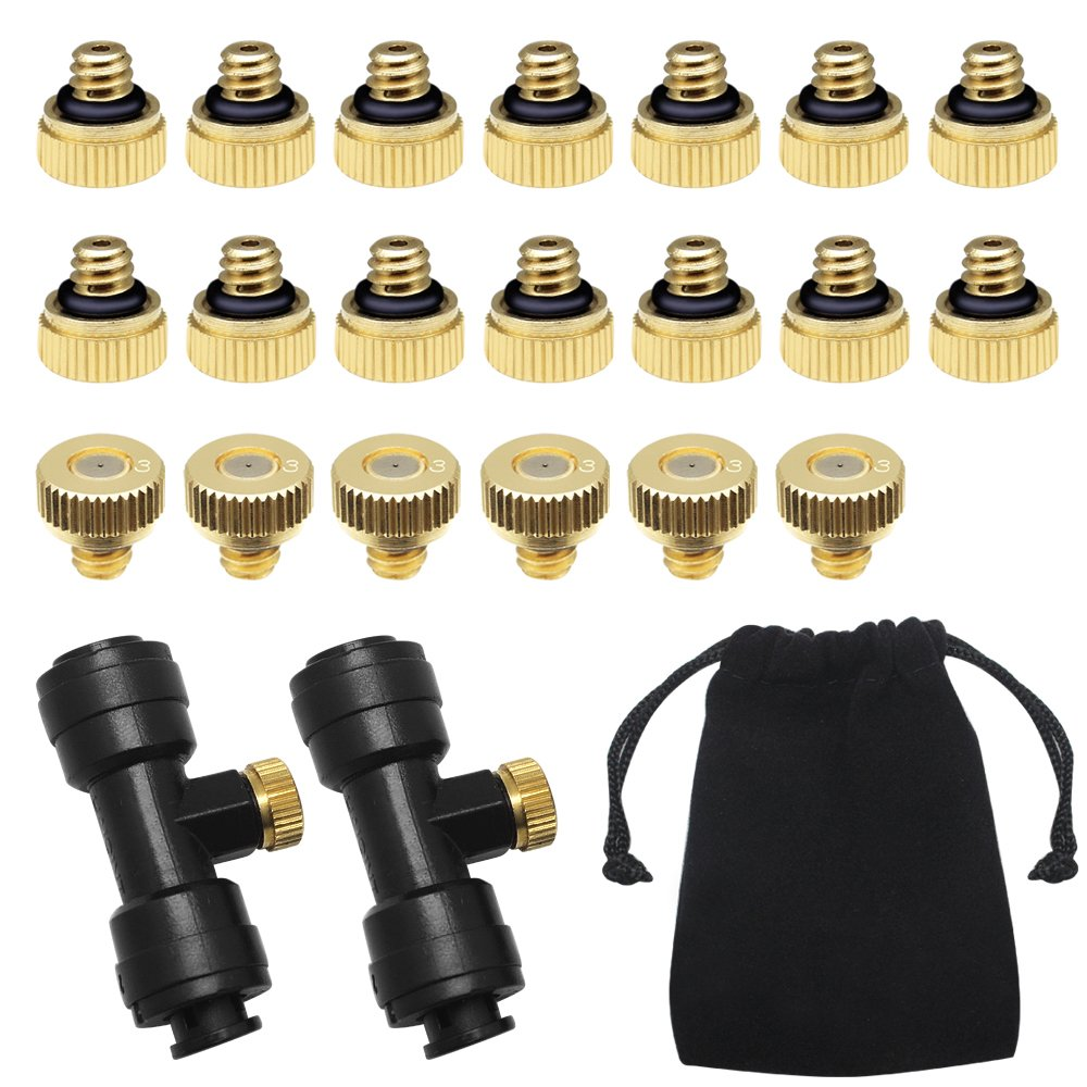 Yotako Misting Nozzles Kit, 22x Brass Mister Nozzles 0.3mm 10/24 UNC+ 2 x 1/4'' Slip-Lok Misting Nozzle Tees, Water Mister Parts Fog Nozzles for Patio Misting System Outdoor Cooling System