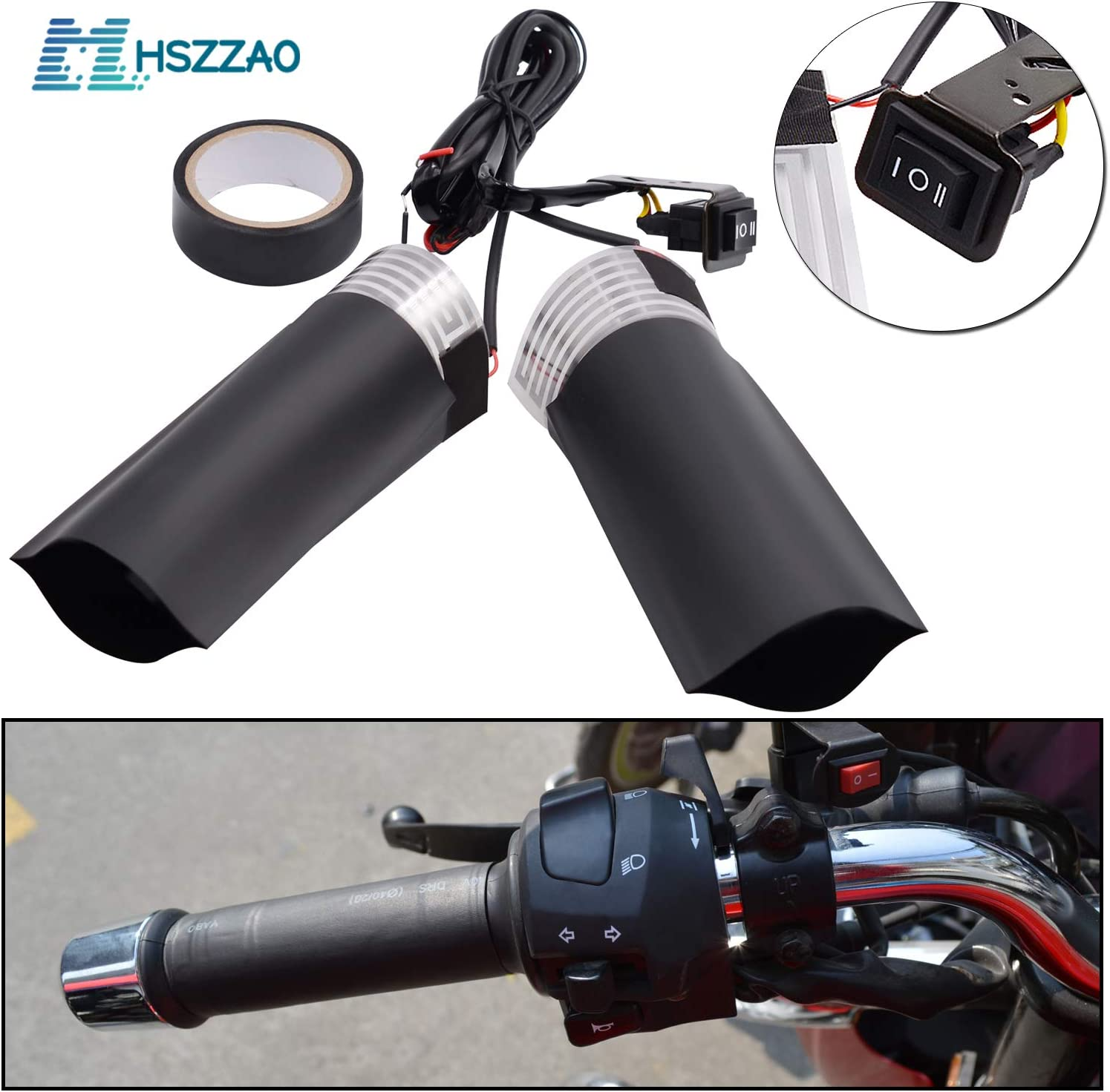 Motorcycle ATV Electric Hot Heated Warm Hand Grips Handlebar Anauto 1 Pair 22mm 7//8
